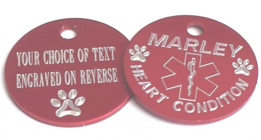 PET MEDICAL ALERT TAG RED 25MM - HEART CONDITION - PERSONALISED ON REVERSE